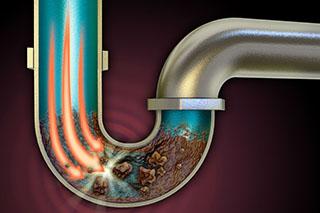 Clogged drainage pip